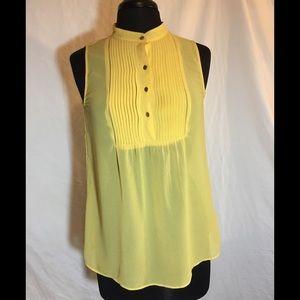 Sheer yellow sleeveless top - Banana Republic S